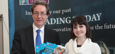 Launching the new Postgraduate Taught Masters Scholarship Scheme at the recent NUI Galway Postgraduate Open Day was Dr Jim Browne, NUI Galway President, with Ita Reddington from Co. Galway.