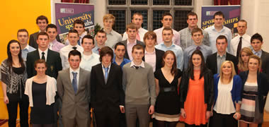 Pictured are the 2011 NUI Galway Sports Scholarship recipients. Back row (l-r): Richard Bennett, Jason Doherty, Sean O'Connor, Éinne Ó hEochaidh, Cian Fadden, James Brophy, Kenneth Hansberry, and Gerard Hanley. 
