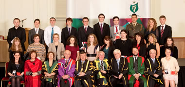 Pictured with NUI Galway students and graduates are (front row, l-r): Professor Fidelma Dunne, Head of School of Medicine, NUI Galway; Dr Attracta Hapin Registrar of the NUI; Professor Nollaig Mac Congáil, Registrar and Deputy President NUI Galway; Dr Michael Murphy, President of UCC; Dr Maurice Manning, Chancellor of the NUI; Professor Jim Walsh, Vice-President NUI Maynooth; Professor Clive Lee, Vice Dean in RCSI; and Dr Martin Butler, Vice-President for Students, UCD.