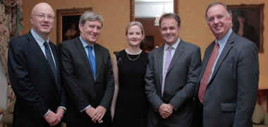 Dr Elaine Dunleavy of NUI Galway (centre) pictured at the Science Foundation Ireland (SFI)/Health Research Board (HRB)/ Wellcome Trust Biomedical Partnership meeting at the Irish Embassy in London. (l-r) Professor Mark Ferguson, Director General of SFI, Mr Dan Mulhall, Ireland's Ambassador to the UK, Dr Elaine Dunleavy, NUI Galway, Professor Jeremy Farrar, Director of the Wellcome Trust and Mr Enda Connolly, Chief Executive of the HRB.