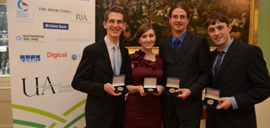 From Left: Isaac Burke, Neasa O'Callaghan, Marek Bohacek, and Cathal Kelly with their 2012 Undergraduate Award medals
