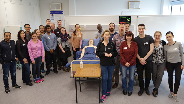 Pictured are the first group of students undertaking the Postgraduate Certificate, Diploma and Masters in Medical and Healthcare Simulation at NUI Galway.
