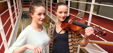 Pictured are Members of the Galway Medical Orchestra Sinead and Aoife Scott from Kingston, Galway City, first year Specch and Language Therapy students at NUI Galway