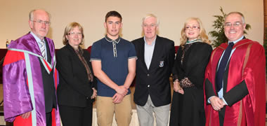 Along with the Access Certificate, Jason Murphy from Galway City was also awarded one of the NUI Galway/Salthill Devon Football Club Access Scholarships. Also pictured is (l-r): Professor Nollaig Mac Congail, NUI Galway's Registrar and Deputy Present; Dr Pat Morgan, Vice-President for the Student Experience, NUI Galway; Pete Kelly, Salthill Devon Football Club; Imelda Byrne, Access Officer, NUI Galway; and Dr Edward Herring, Dean, College of Arts Social Science and Celtic Studies.