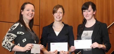 Winners of the PhD research presentation competition were NUI Galway students (l-r): Sandra O'Brien; Claire Concannon; and Lynda O'Leary.