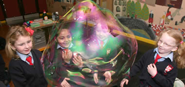 Children from Scoil Róis, Galway enjoying the Bubble Magic Show as part of Galway Science Week