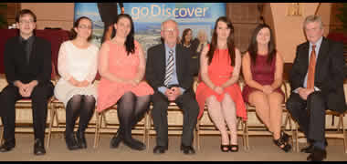 At the Gaisce Awards Ceremony in NUI Galway were (l-r) Billy Stewart, Gold Pal; Niamh O'Neill, PRO of Gaisce Society in NUI Galway; Jasmine Kelly, Treasurer of the Gaisce Society; Dr  Nollaig Mac Congáil, Registrar and Deputy President, NUI Galway; Rebecca Tierney, Auditor of the Gaisce Society; Melllisa Tierney, Vice-Auditor of the Gaisce Society; and Hugh MacConville, Gaisce Western Regional Development Officer.