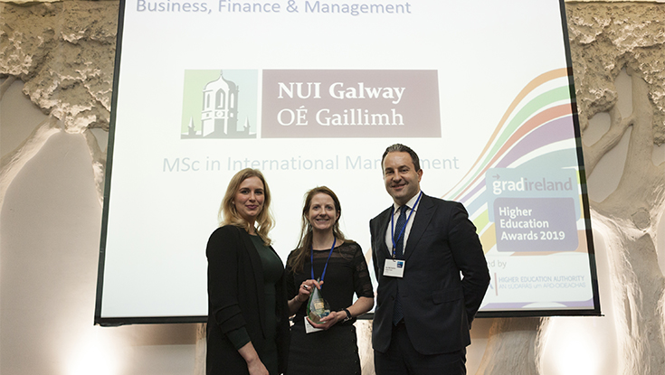 Caption: From left, Kiah Townsend, Account Manager, gradireland; Majella Giblin, Academic Programme Director, MSc International Management, NUI Galway; and Paul McClatchie, Founder, Engage People.