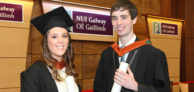 Pictured at the recent graduation ceremony in NUI Galway are Neil Kelly, from Claremorris in Co. Mayo and Louise Gilligan from Newcastle in Galway city. Both Neil and Louise were trained in conjunction with Sogeti Ireland and, after completing their internships, were employed fulltime as graduate developers with Sogeti Consulting in Ballycoolin in Dublin 15.
