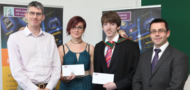 (left-right): Dr Hugh Melvin, Information Technology, NUI Galway; Elise Karlsson, Galway City; Niall Doran from Loughrea, Co. Galway; and Dr Michael Madden, Information Technology, NUI Galway.