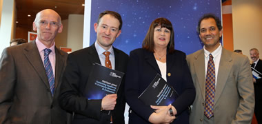 (l o r) Dr Conor O'Carroll, Director of Research IUA, Minister for Research and Innovation, Mr Sean Sherlock TD, European Commissioner for Research and Innovation, Máire Geoghegan-Quinn, Prof Lokesh Joshi, VP for Research, NUI Galway and Chair of the IUA VP's of Research Group at the launch of the IUA Action Plan Horizon 2020 Sustaining Excellence in University Research and Innovation.