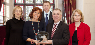 Launching NUI Galway's new MA in Rural Sustainability and the Dr Patrick Commins Rural Research Award were (centre): Professor Gerry Boyle, Director of Teagasc and Mairín Commins, wife of Dr Patrick Commins, with Co-Directors of the MA in Rural Sustainability, (l-r) Dr Marie Mahon, Dr John McDonagh, and Dr Maura Farrell.