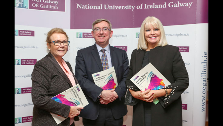 Minister Mary Mitchell O'Connor Launches NUI Galway Equality, Diversity and Inclusivity Initiatives, pictured with Professor Anne Scott, Vice President for Equality and Diversity at NUI Galway and Professor Ciarán Ó hóGartaigh, President of NUI Galway