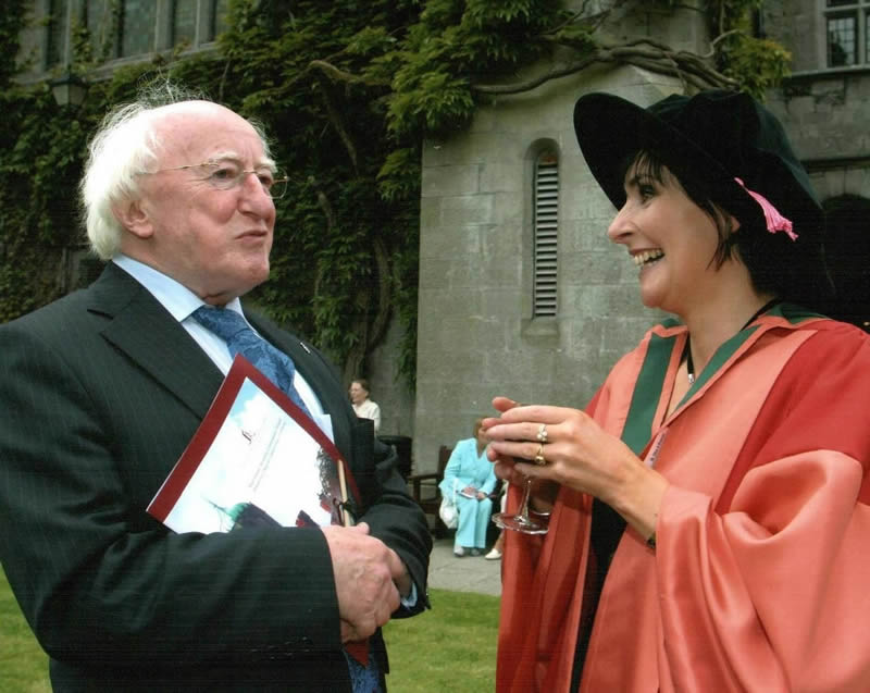 With Enya who recieved and honourary degree from the University in 1997