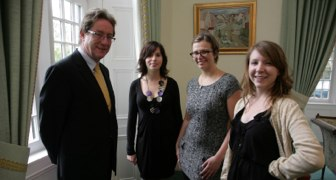 Pictured (L-R) are President NUIG, Dr James Browne with DREAM researchers Magdolna Birtha, Abigail Rekas, and Anna Arstein-Kerslake.