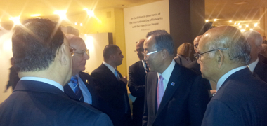 Pictured (L to R): Professor John Norton Moore, Secretary-General Ban Ki-Moon, and Satya Nandan