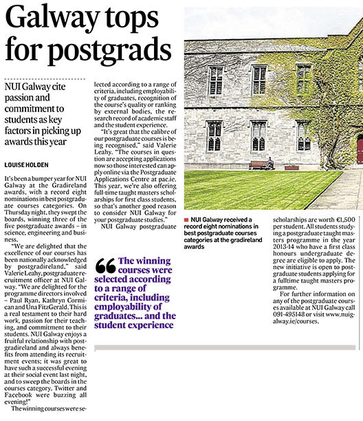 NUI Galway tops for postgrads