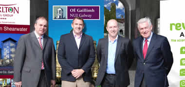 At the 'GolfCycle' prize draw at NUI Galway recently were (l-r): Michael Crowe, Carlton Shearwater Hotel, Balinasloe; John McGuire, NUI Galway; Joe Lyons, NUI Galway student and founder of defibme.ie; and Dáithí O'Connor, Revive Active.
