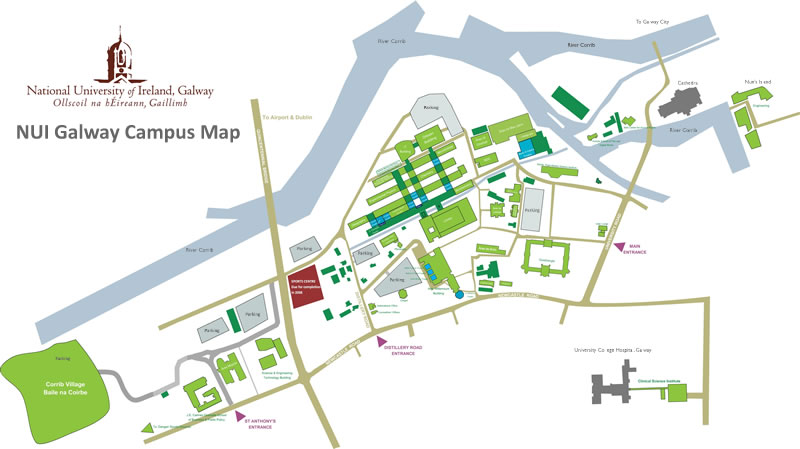NUI Galway Campus Map Small Version (Click for a larger version)