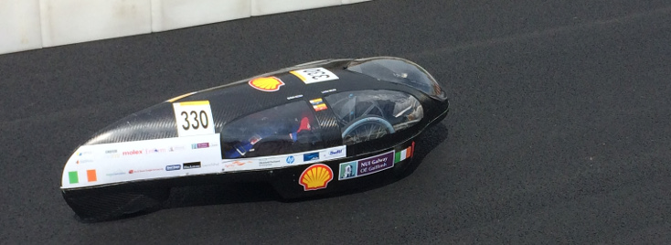 The Geec 3.0, built by NUI Galway students, racing at Shell Eco-marathon Europe 2017.