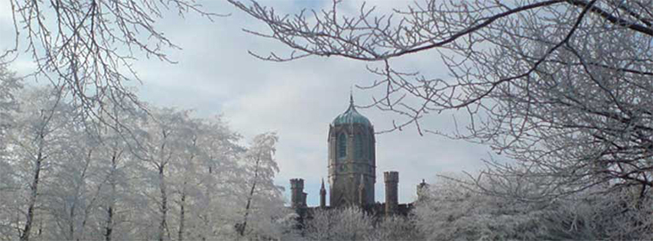NUIG Clocktower with frosty trees