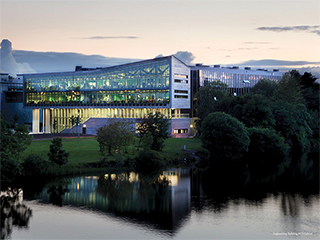 View of new NUIG Engineering Building at dusk