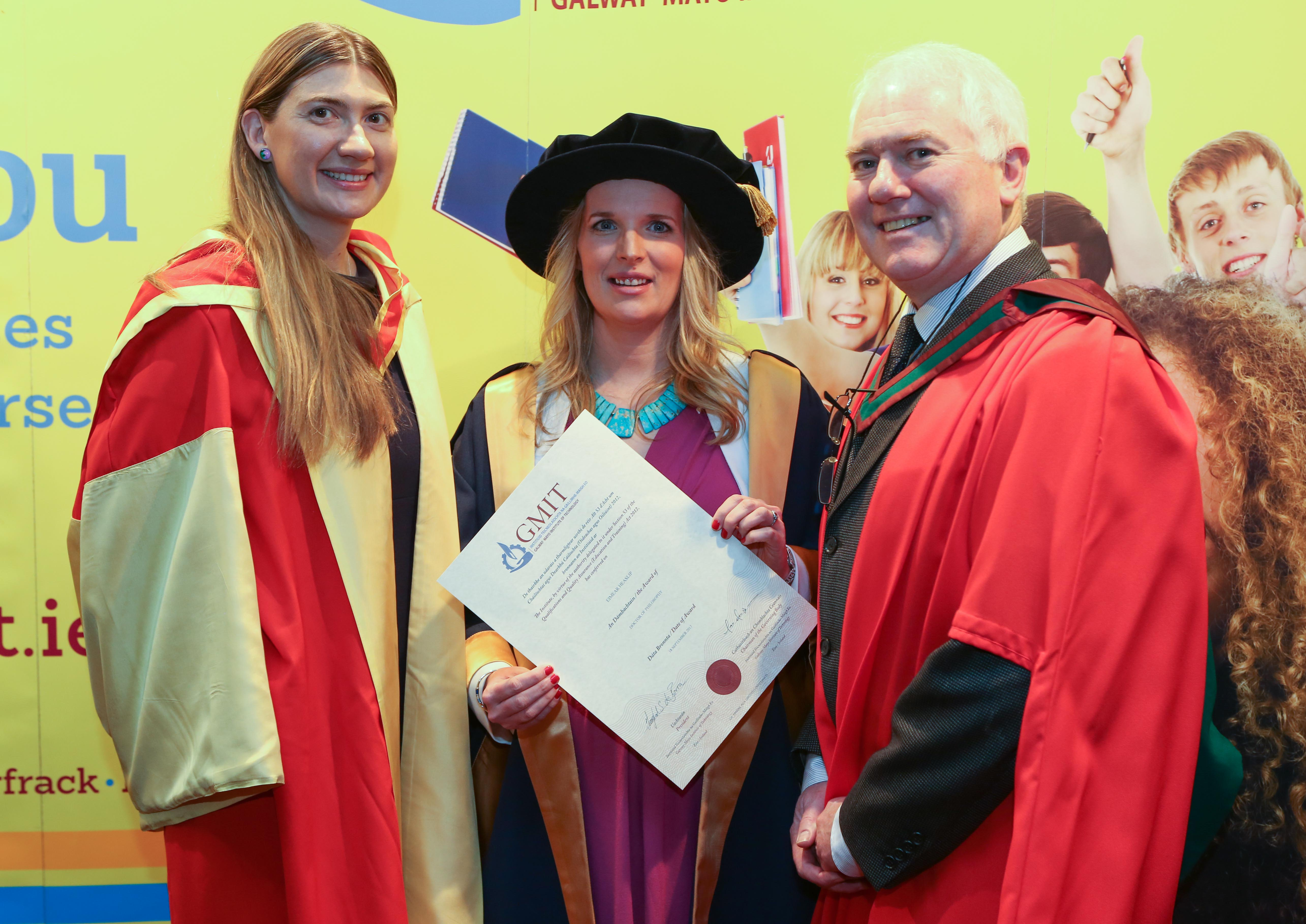 Dr Eimear Heaslip receiving her PhD award from GMIT in November 2017-image