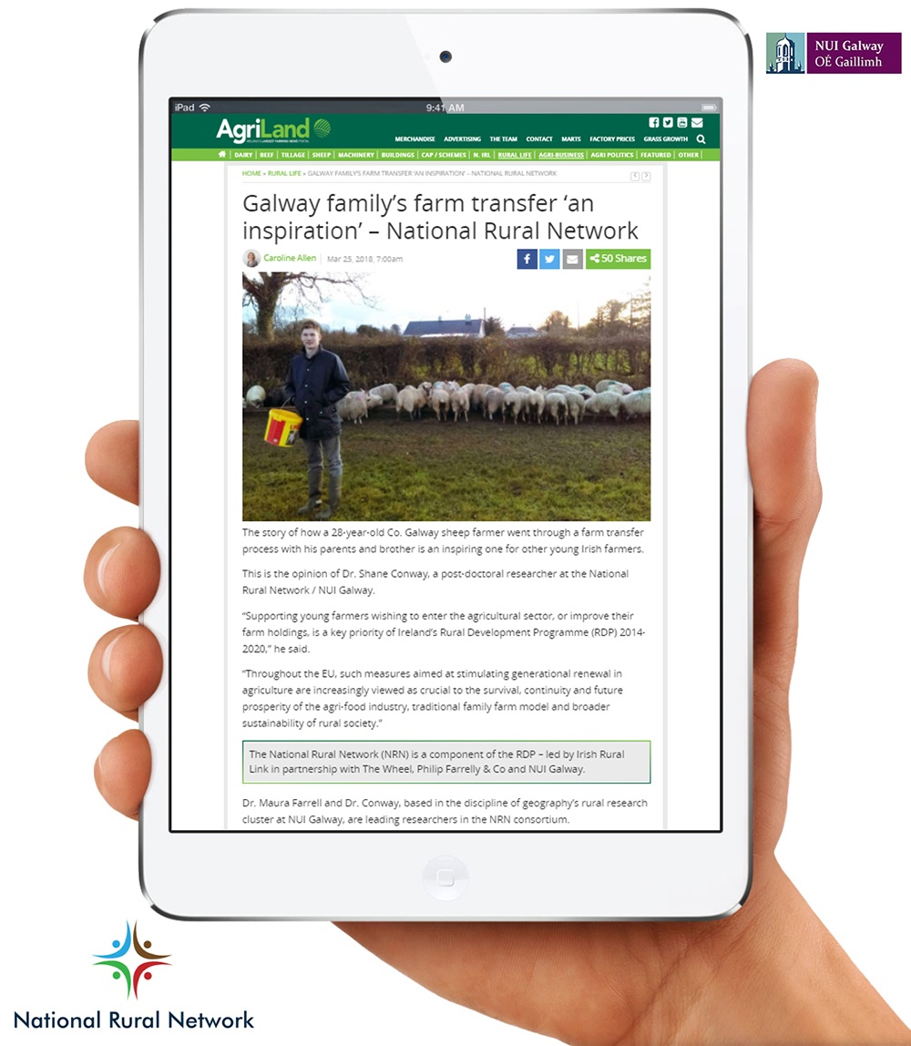 'Generational Renewal in Agriculture' National Rural Network Case Study featured on Agriland, Ireland's Largest Farming -image