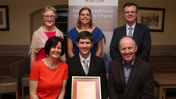 Pictured at the Optum Scholarship awards ceremony, in which First Medicine student Liam Orr received his scholarship for his studies at NUI Galway, were, back row l-r: Dr Vera Keatings, Dean of NUI Galway Medical Academy, Letterkenny University Hospital; Katie Mullan, Captain Irish Women's Hockey team and guest speaker at the ceremony; and Pádraig Monaghan, CEO Optum Ireland.