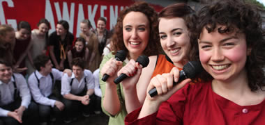 NUI Galway students Eva-Maria Costello, Emma Van Der Putten and Hazel Doyle are part of the cast of the musical Spring Awakening, one of the many highlights of NUI Galway's Arts Festival, Múscailt, which runs from 6-10 February.