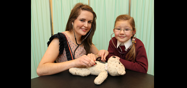 Second year NUI Galway medical student Sinéad Coen and Oliwia Kozinska (5) from Scoil Chroí  Íosa in Galway were at the launch of NUI Galway's 7th Annual Teddy Bear Hospital which will take place on campus from 26 - 27 January.   The event will see over 1,300 sick teddy bears admitted to the hospital, accompanied by 1,300 primary school children.