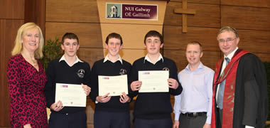 Pictured at the NUI Galway/BSTAI Junior Cert Business Studies awards from were: (l-r) Mary O'Sullivan, President BSTAI; students from Carrick-on-Shannon Community School Niall Bambrick, Ben Donohue, John Gannon and their teacher Andrew McManus; and Professor Willie Golden, Dean of the College of Business, Public Policy and Law at NUI Galway.