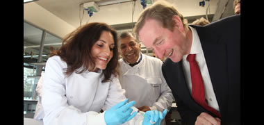 Dr Sarah Gundy, Professor Abhay Pandit and An Taoiseach Enda Kenny at the official opening of the €30 million NUI Galway Biomedical Science Building which will host over 300 scientists.
