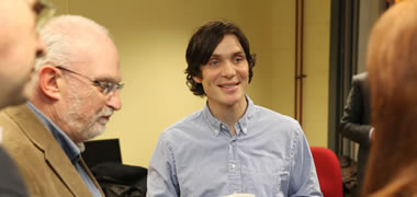 Actor Cillian Murphy pictured with (left) UNESCO Chair Professor Pat Dolan Director of the Child and Family Research Centre at NUI Galway