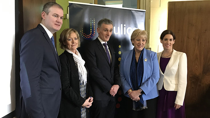 Minister Seán Kyne T.D., Minister of State for the Irish Language, the Gaeltacht and the Islands; NUI Galway's Fiona Neary; Joulica CEO Tony McCormack; Heather Humphreys TD, Minister for Business, Enterprise and Innovation, Heather Humphreys TD; and Hildegarde Naughton T.D.