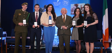 Pictured are the NUI Galway award reciepients (l-r): David McGurrin, Oisin O'Carroll, Sarah Kilduff, Rion Breslin and Christina Quinn with President Michael D. Higgins.