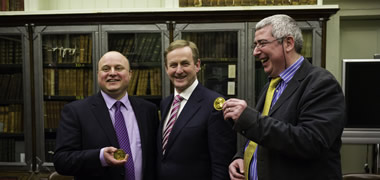 Taoiseach Enda Kenny presents Gold Medal to NUI Galway researcher in the Royal Irish Academy, Dublin-image