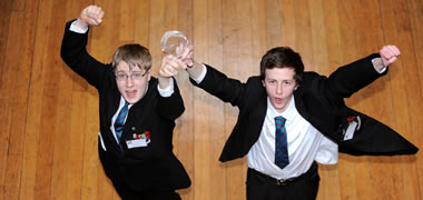 From left: Ansley Patterson and Daniel Part of Banbridge Academy, Co. Down who won the Debating Sciences Issues Competition Final.