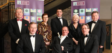 At the NUI Galway Alumni Awards and Gala Banquet 2012 were (back row, l-r): Professor Fergal O'Gara, Aramark Alumni Award for Science; Máire Whelan, Bank of Ireland Award for Business, Public Policy and Law; Gerry Kilcommins, Bank of Ireland Award for Engineering and Informatics; Marie Mullen, AIB Award for Arts, Social Sciences and Celtic Studies; and ; Peadar Mac An Iomaire, Duais Hewlett Packard don Gaeilge. 