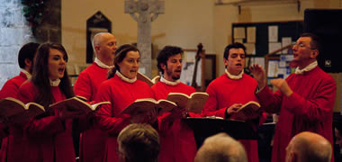 Choral Scholars of the St Nicholas Schola Cantorum directed by Mark Duley. Photo: Paul Fennell
