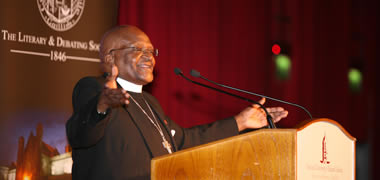 Pictured is Archbishop Desmond Tutu during his visit to NUI Galway in 2009