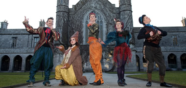 First year students from the BA in Drama, Theatre and Performance at NUI Galway at their recent end of year performance, 'Out of Character', with world renowned street theatre company Macnas. From left: Dale Leadon Bolger, Niamh Butler Thornton, Darragh Cooney, Lydia Sheehan and Jack Scullion. The BA will be one of many courses on display at the University's Open Day on Saturday, 20 April.