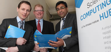 At the launch of the Social Sciences Computing Hub at the Whitaker Institute in NUI Galway were (from left): Dinko Laptev, Client Development Associate Standard and Poor's Capital IQ, London; Dr James Cunningham, Director of Whitaker Institute, NUI Galway; and Dr Srinivas Raghavendra, Associate Director for Multidisciplinary Research at the Whitaker Institute.