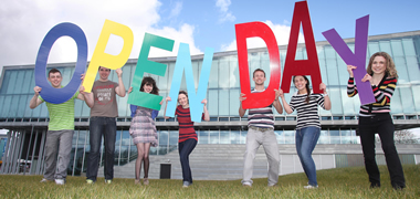 Getting ready for Open Day at NUI Galway are students outside the new Engineering Building. The event will take place on Saturday, 28 April with talks and tours giving visitors a taste of University life.