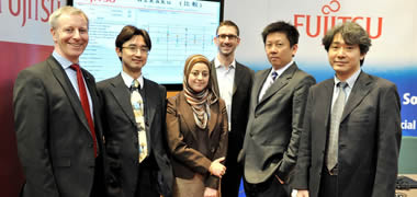 The Fujitsu DERI, NUI Galway team at the Irish launch of the new Linked Open Data platform (L-R: Anthony McCauley, Head of Research at Fujitsu Ireland; Taka Matsutuka, Research Manager; Aisha Naseer, Senior Researcher; Pierre-Yves Vandenbussche, Lead Researcher; Masatomo Goto, XBRL expert; Terunobu Kume, Senior Researcher)