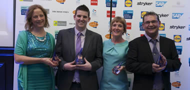 Pictured (l-r): Dr Una Fitzgerald, winning Programme Director for the MSc in Biomedical Science (part-time); Shaun O'Shea, NUI Galway graduate and winner of the Graduate Employee of the Year; Dr Kathryn Cormican, winning Postgraduate Director of the Masters of Applied Scince (Enterprise Systems) and Dr Paul Ryan, winning Programme Director for the MSc in International Management, at the GradIreland Awards 2013.