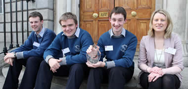 Debating Science Issues All-Ireland Final winners, Clonakilty Community College students Paul Harte, Philip Poillot, Conor Ryan, with their teacher, Mary Lowery.