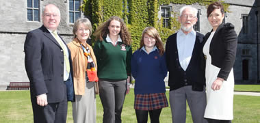Pictured from left: Dean of Arts, Dr Edward Herring, NUI Galway; Hedy Gibbons, Writer;  Orla O'Flynn from Living Scenes in Calasanctius College in Oranmore; Rebecca Kane and Larry Carey from Living Scenes in the Presentation Secondary School Galway; and Dr Mary Surlis, Director, Living Scenes at NUI Galway.