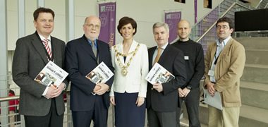 At the conference were (l-r): Dr Jim Duggan, Information Technology, NUI Galway; Dr Mike Hartnett, Civil Engineering and the Ryan Institute, NUI Galway; Hildegard Naughton, Galway City Mayor; Professor Gerry Lyons, Dean of the College of Engineering and Informatics, NUI Galway; Dr Emanuele Ragnoli, IBM; and Dr Marcus Keane, Civil Engineering & Ryan Institute, NUI Galway.