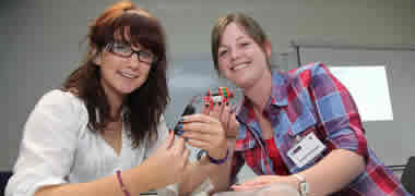Pictured using mechanical power with motors and gearboxes at a recent NUI Galway Engineering Summer School were (l-r) Kate Kerane, from Co. Tipperary, and Gemma Rothwell from Co. Wexford.